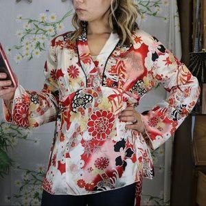 VINTAGE red black white japanese kimono top